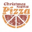 Abstract vector Christmas menu for Pizza background — Stock Vector