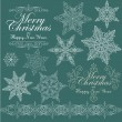 Vintage Christmas set with isolated snowflakes for invitation — Stock Vector