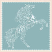 Christmas card with lace horse — Vetorial Stock