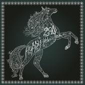 Tarjeta de navidad de encaje con caballo — Vector de stock