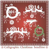 Vector set: Calligraphic Christmas headlines — Vecteur