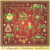 Vector set: Calligraphic Christmas headlines — Stock Vector