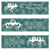 Christmas banners with calligraphic design elements — Stock Vector