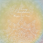 Beautiful lace ornament for merry christmas card vector — Vecteur