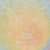 Beautiful lace ornament for merry christmas card vector — Stock Vector