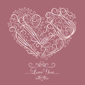 Card with floral heart — Vettoriale Stock