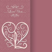 Card with floral heart — Vecteur