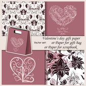 Floral and heart gift paper — Vector de stock