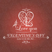 Valentine's Day type text calligraphic — Stock Vector