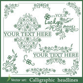 St. Patrick's day calligraphic headlines — Stock Vector