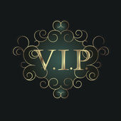Vip golden symbol in scroll frame. — Vecteur
