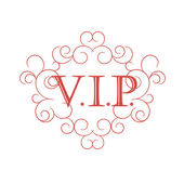 Vip red symbol in scroll frame. — Vecteur