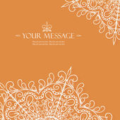 Vintage invitation card with lace ornament. — Stok Vektör