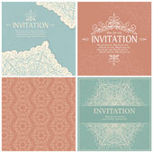 Set of  invitation cards with lace ornament. — Vecteur