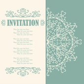 Vintage invitation card with lace ornament. — Stock Vector