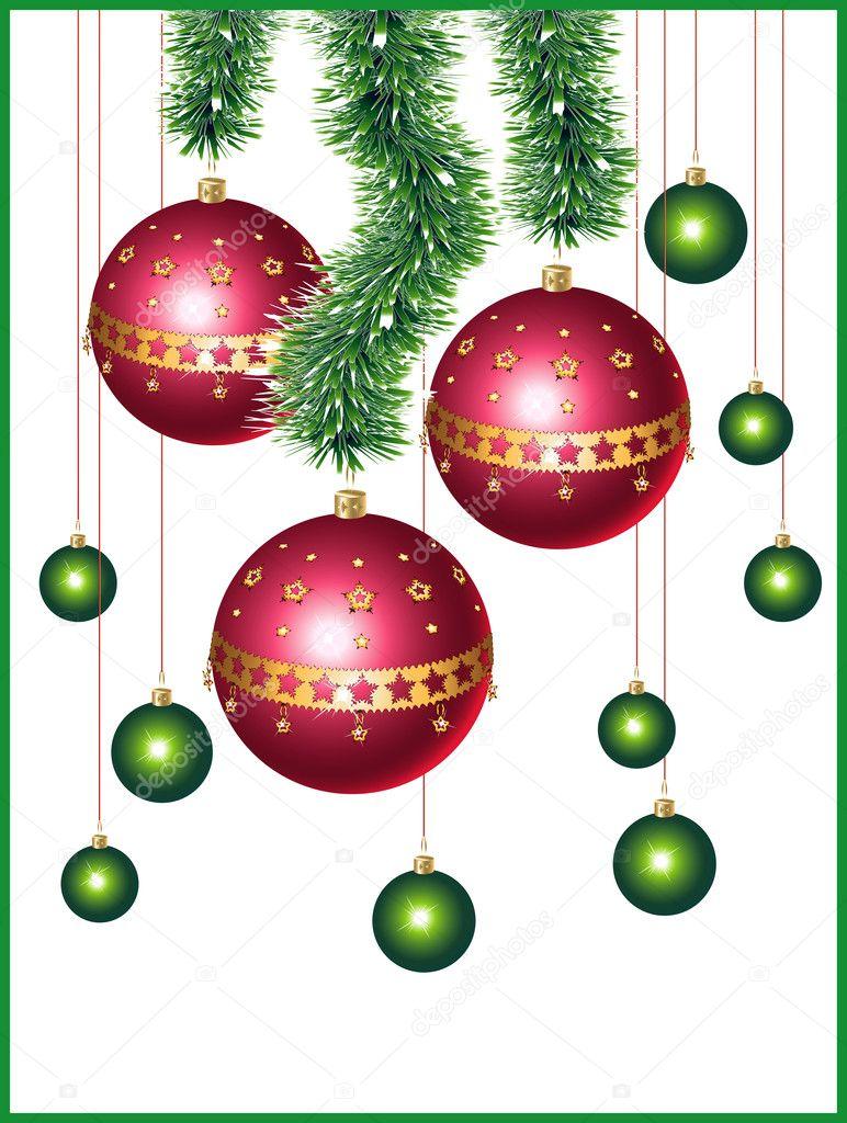 Christmas balls and a tinsel — stock vector maribaben
