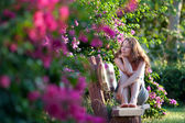 Woman Sitting on the bench — Stock Photo