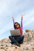 Woman working outdoor — Stock Photo