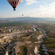 Stock Photo: Hot air balloons rise over valley, Turkey