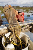 Eel Fisherman — Stock Photo