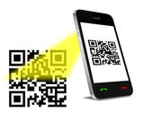 QR Code on mobil phone — Stock Photo