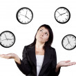Businesswoman juggling clocks. Time Juggling Act. — Stock Photo #12464913