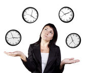 Businesswoman juggling clocks. Time Juggling Act. — Stock Photo