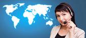 Dünya haritası üzerinde müşteri desteği — Stok fotoğraf