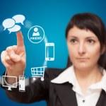 affärskvinna pekskärm gränssnitt — Stockfoto
