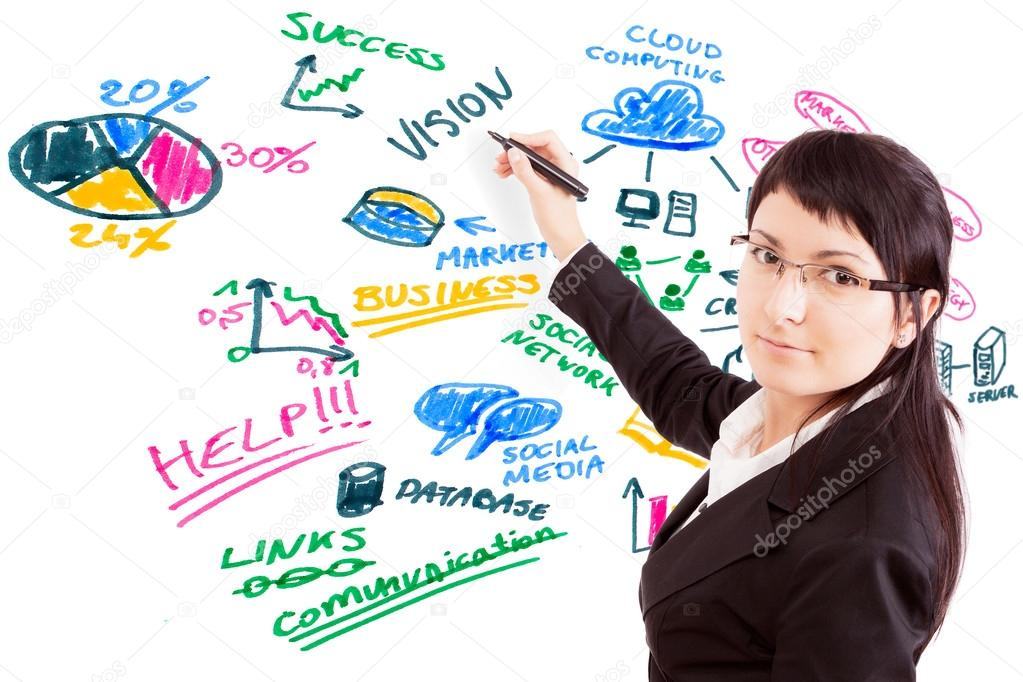Businesswoman draw modern business concept. Social issues.  Stock Photo #13228155