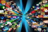 Fundo de multimídia. composta de muitas imagens — Foto Stock