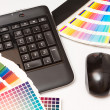 Color swatches and computer keyboard, mouse — Stock Photo #19379303