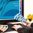 Designer at work. Color samples. - Stock Photo