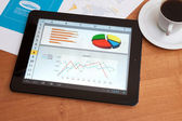 Desk with digital tablet. Marketing Research. — Stock fotografie
