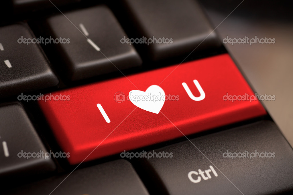 Computer keyboard with love key  Stock Photo #19379167