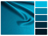 Blue satin colour palette swatch — Stock Photo
