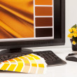 Designer at work. Color samples. — Stock Photo