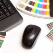 Color swatches and computer keyboard, mouse - Stock Photo