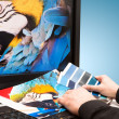 Designer at work. Color samples. — Stock Photo #22055859