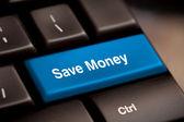 Ušetřit peníze tlačítko klíč — Stock fotografie