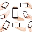 Hands holding smart phones isolated — Stock Photo
