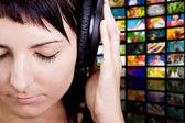 Nice Music. Woman enjoying music. — Stock Photo