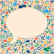 Social media icons texture in talk bubble shape - Stock Vector