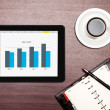 Digital tablet showing charts and diagram — Stock Photo #26266751