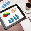 Digital tablet showing charts and diagram — Stock Photo #26267109
