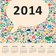 2014 new year calendar — Stock Vector