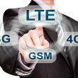Businessman pushing finger on lte button — Foto Stock #35904899