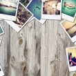 Frame with old paper and photos on wooden background. — Stock Photo