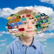 Stock Photo: Young boy. Technology concept.
