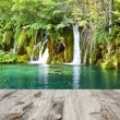 Waterfall and wood pier — Stock Photo #38732309